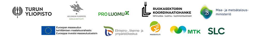 Sivuston rahoittajien ja toimijoiden logot: Turun yliopisto, Helsingin yliopiston Ruralia-keskus, ProLuomu, Ruokasektorin koordinaatiohanke, Euroopan maaseudun kehittämisen maatalousrahasto, Elinkeino- liikenne ja ympäristökeskus, Maaseutu.fi, Maa- ja metsätalousministeriö, MTK ja SLC.